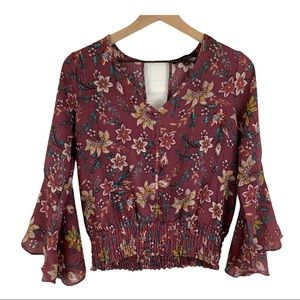 KAII LOS ANGELES Bell Sleeve Floral Blouse